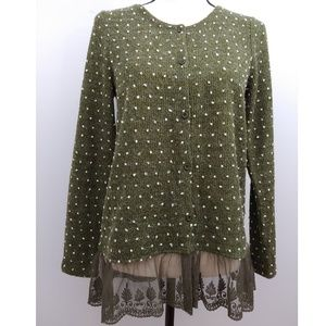 Altar'd State Green Sweater with Lace Hem - Medium